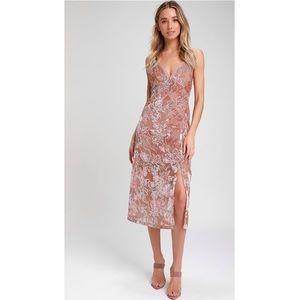 NEW Lulus Mauve Velvet Floral Print Midi Dress XS